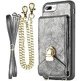 iPhone 7 Plus Crossbody Purse Women, ZVEdeng iPhone 7 Plus / 8 Plus Crossbody Bags Cell Phone Purse Credit Card Holder, Dark Gray