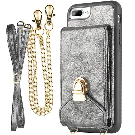 save off b4fb7 ea856 iPhone 7 Plus Wallet Case for Women, ZVEdeng iPhone 8 Plus Card Holder  Case, iPhone 8 Plus Case with Wrist Strap and Crossbody Strap, iPhone 7  Plus ...