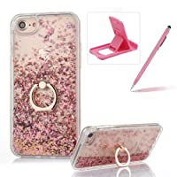 Hard Case for iPhone 7,Plastic Glitter Case for iPhone 8,Herzzer Luxury 3D Creative Design Rose Gold Liquid Quicksand Sparkly Crystal Clear Protective Skin Back Case with 360 Degree Ring Holder for iPhone 7/iPhone 8 4.7 inch + 1 x Free Pink Cellphone Kickstand + 1 x Free Pink Stylus Pen