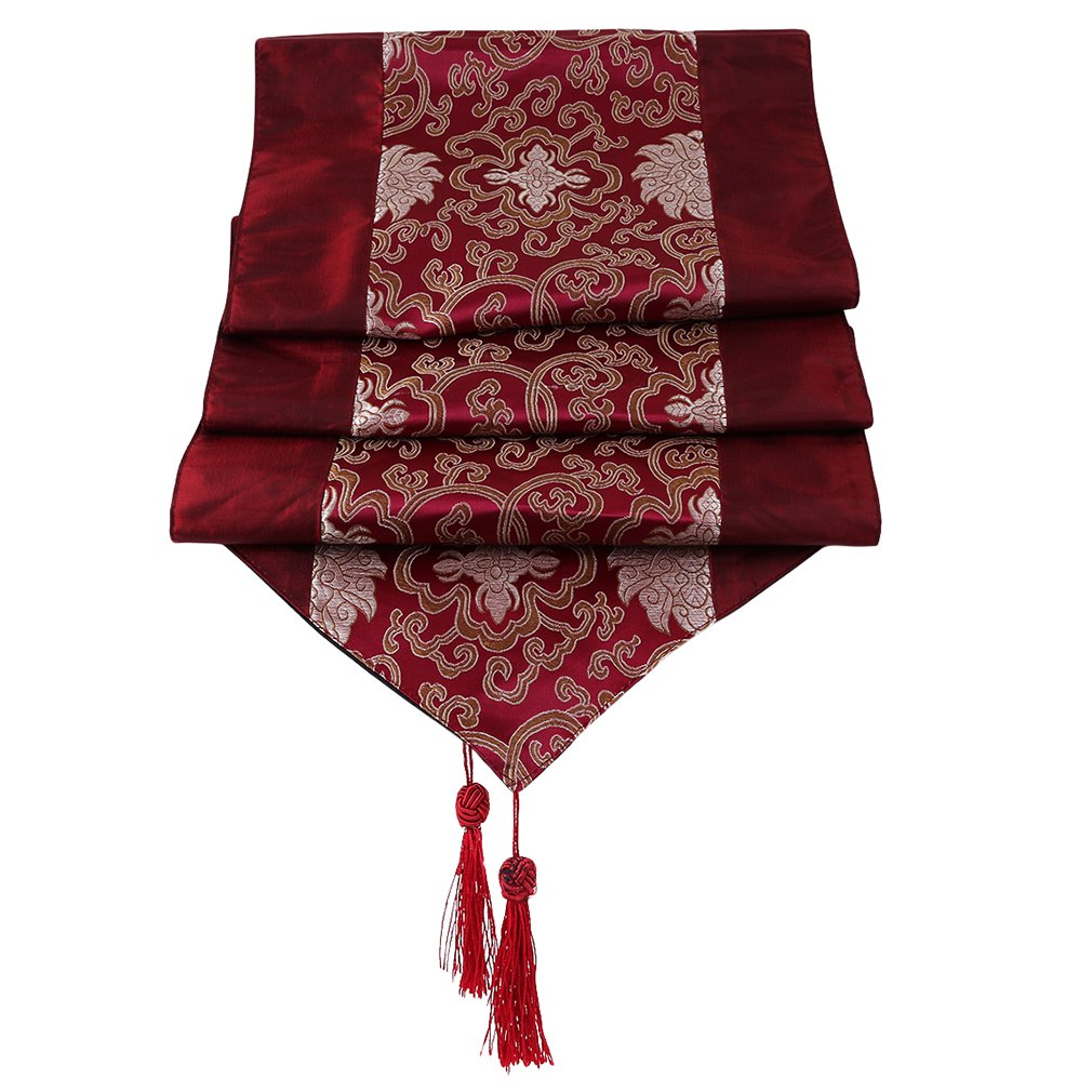Yinew Home Table Cover Decoration Luxurious Embroidered Floral Pattern Table Runner with Tassel Dining Party,Maroon