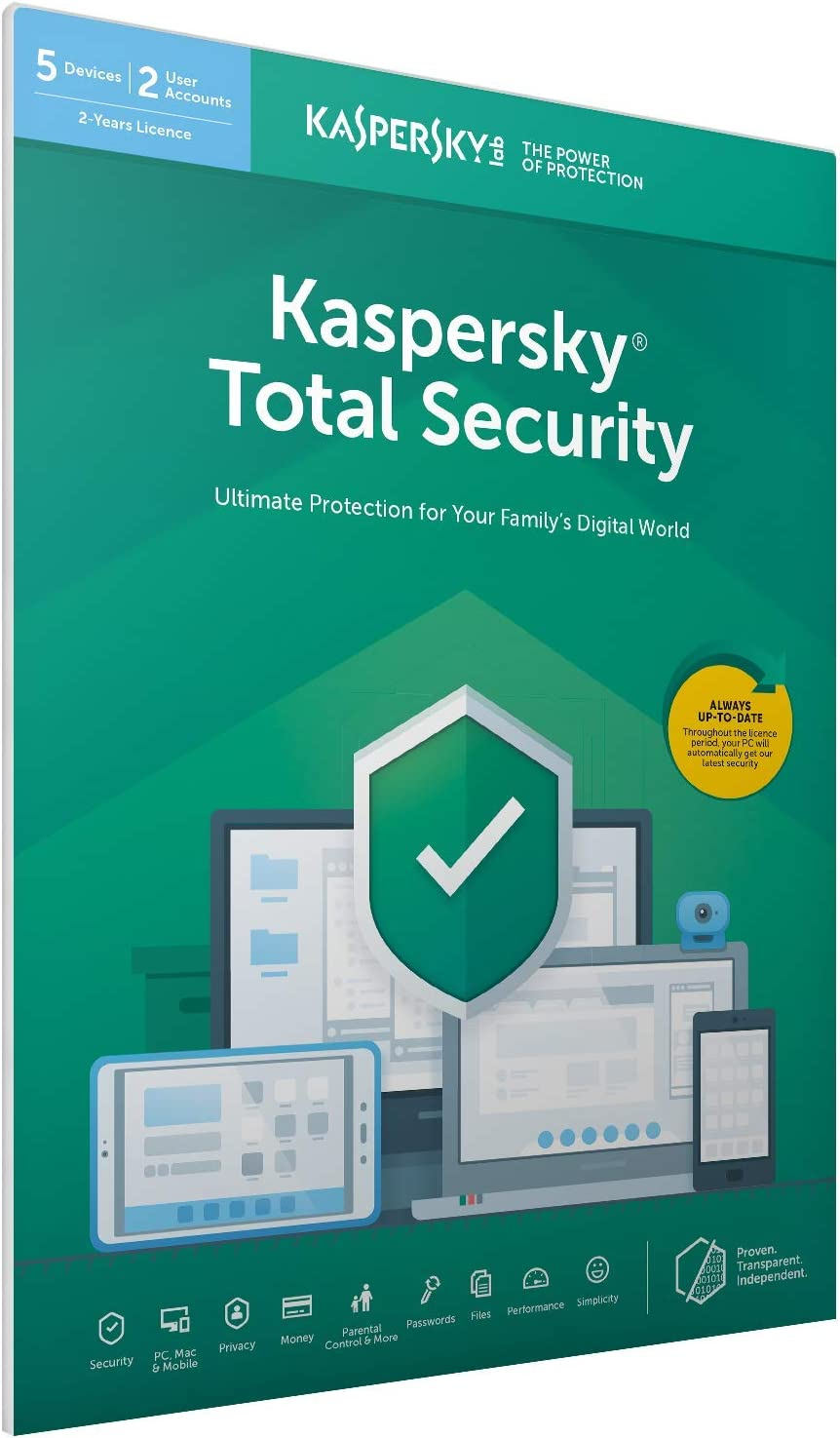 Kaspersky Total Security 2018 | 5 Dispositivos | 2 Años | PC / Mac / Android | Código dentro de un paquete