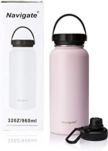 NAVIGATE 32oz Wide Mouth Stainless Steel Water Bottle with Two Lids, Double Walled Vacuum Insulated Travel Sports Flask Cup |Keep Drink Stay Cold & Hot, Leak Proof