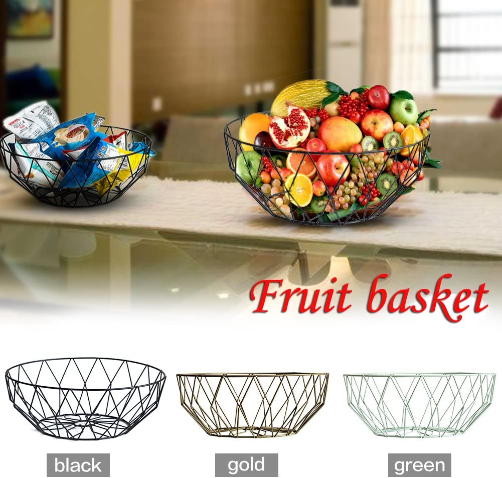 Round Corbeille /à fruits Corbeille /à fruits Nordic innovante Style simple Corbeille /à fruits fer Art Corbeille /à fruits Bol Snack Assiette Panier de rangement pour cuisine//table//salon Green