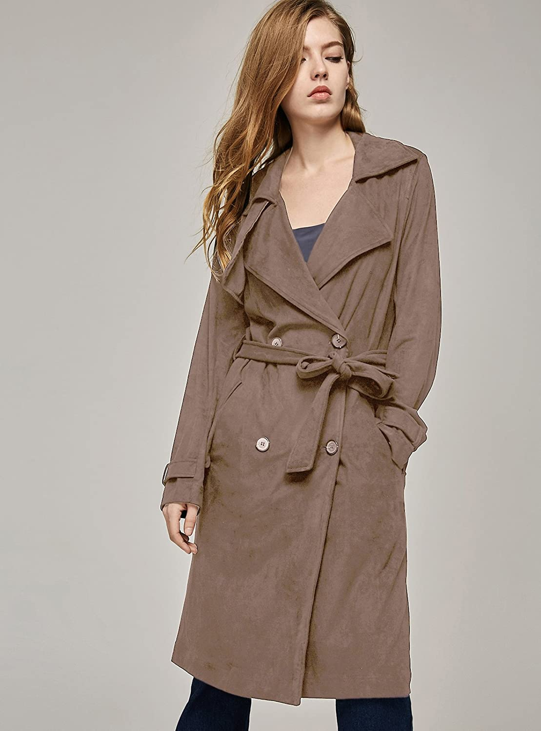 ebossy Womens Classic Double-Breasted Lapel Short Trench Coat Windbreaker Jacket with Belt