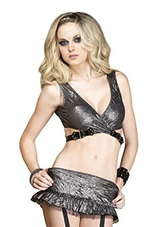 40c1df7e2 Leg Avenue Women s Platinum Crushed Foil Wrap Top and Garter Mini Skirt