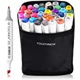 TOUCHNEW 36 Color Set Alcohol Graphic Drawing Painting Art Dual Tip Sketch Pen Twin Tip Marker Coloring Highlighting Underlining Set + Pencil Bag