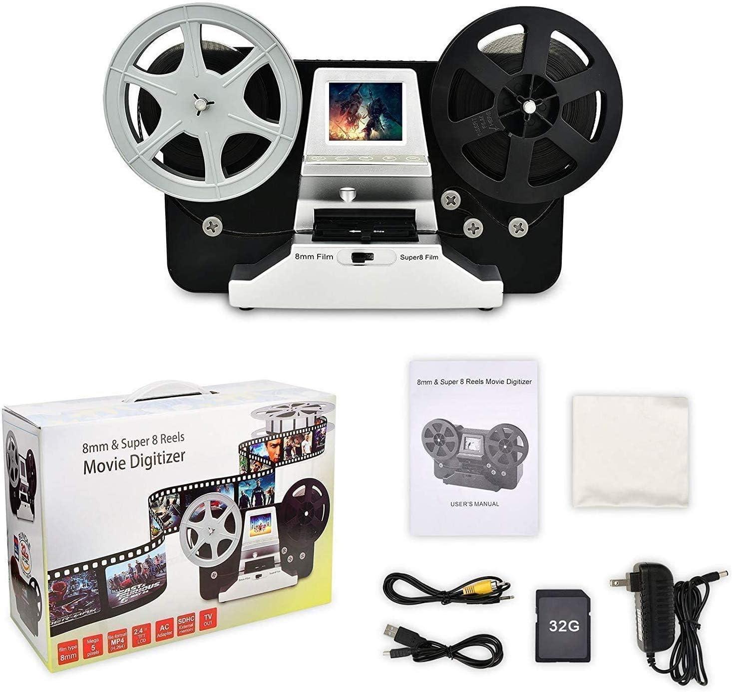 Digital Vido Scanner e digitalizzatore di film con LCD da 2,4 Rotolo di pellicola da 8 mm e bobine di pellicola Super8 con scheda SD da 32 GB nero Film2Digital MovieMaker 5e 3