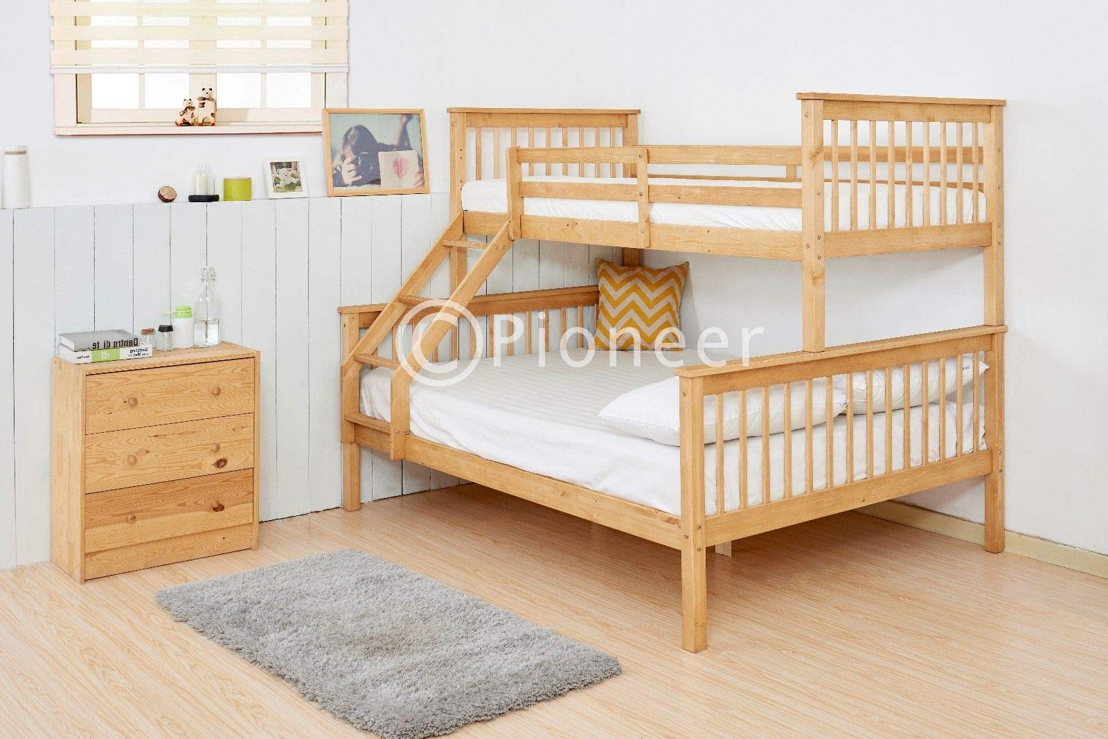 Pioneer Triple Bunk Bed Kids Beds Adults Beds In Oak Colour Bunk Bed For Kids Buy Online In Guernsey At Guernsey Desertcart Com Productid 157860522