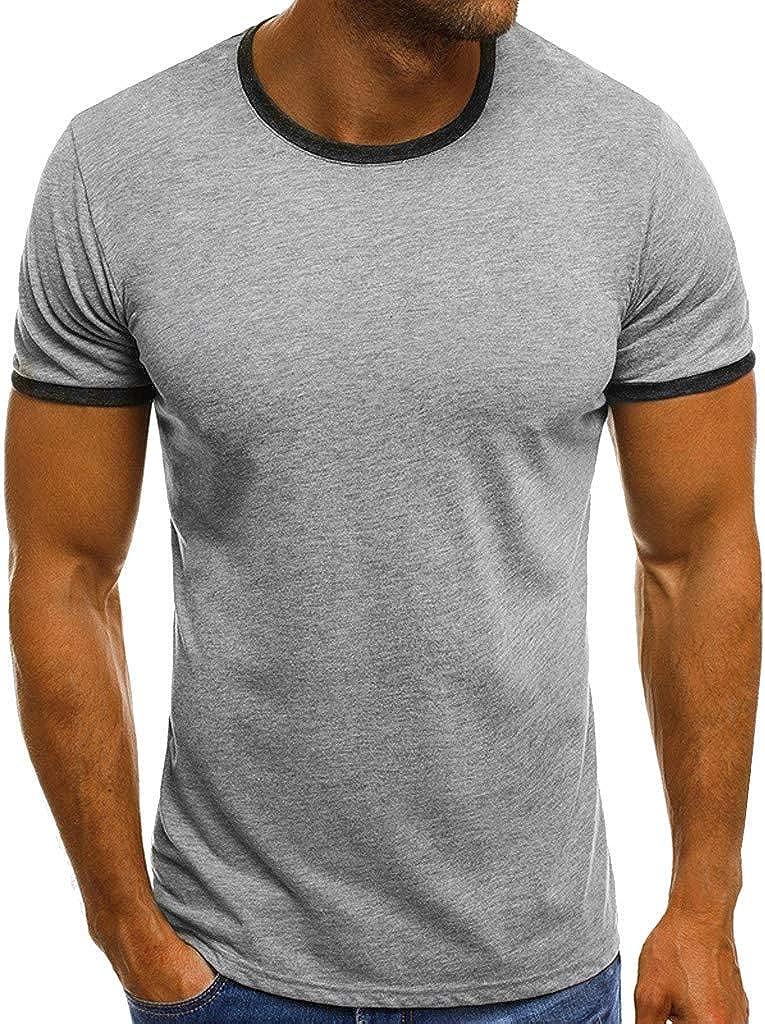 Emimarol Men Summer Blouse Casual Patchwork Short Sleeve O Neck Pullover Short Sleeve T-Shirt Top Blouse