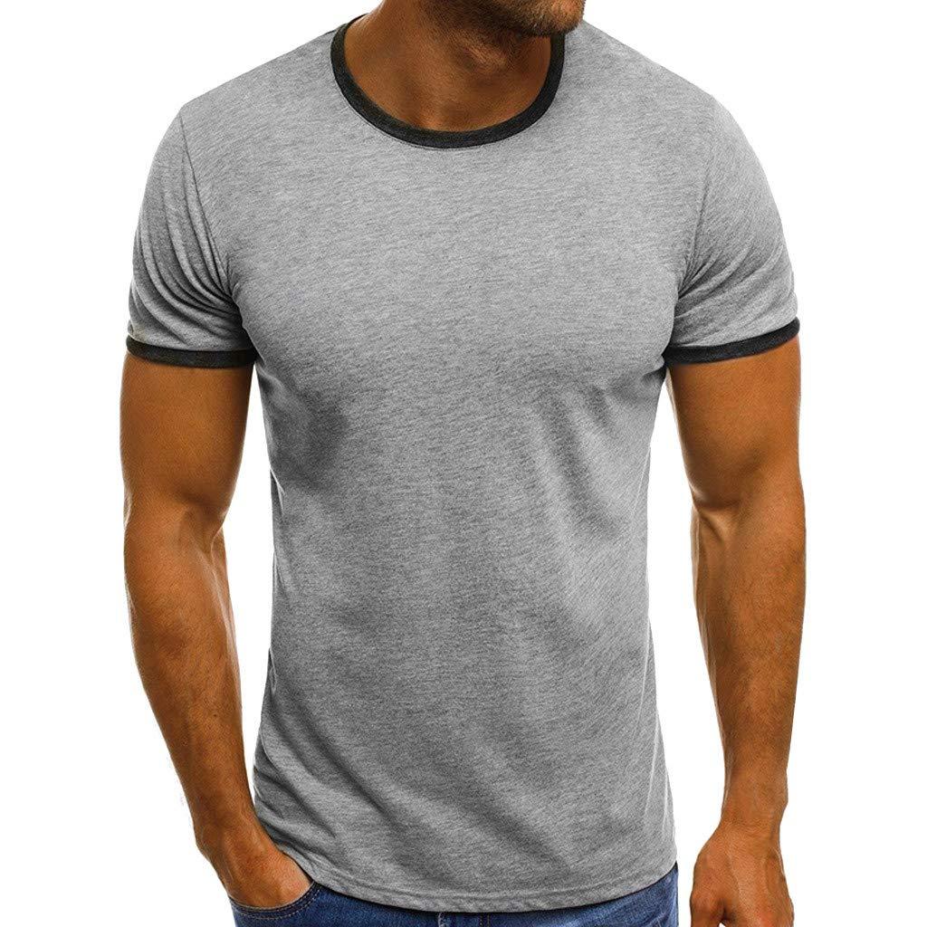 Winsummer Men's Crew T-Shirt Undershirts Cotton Soft Stretch Tshirts Slim Fit Short Sleeves Tee Shirts for Men Gray