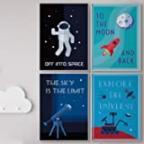 Pillow & Toast LIMITED EDITION SPACE WALL ART: Set of FOUR Posters For Kids, 4-Pack Children Bedroom Room Decoration, Hanging Stripes Included. Classroom Decor, Modern Poster Sets.
