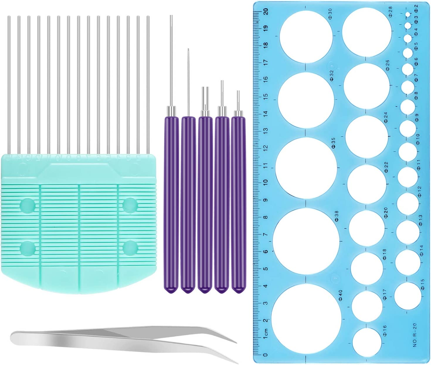 4pcs General DIY Paper Craft Quilling Tool Set with Quilling Template Board Slotted Roller Tool Blue Tweezer +Needles