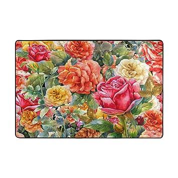 ALAZA Zone Floral Vintage Rose Tapis 4 x 6 pieds, Salon Cuisine ...