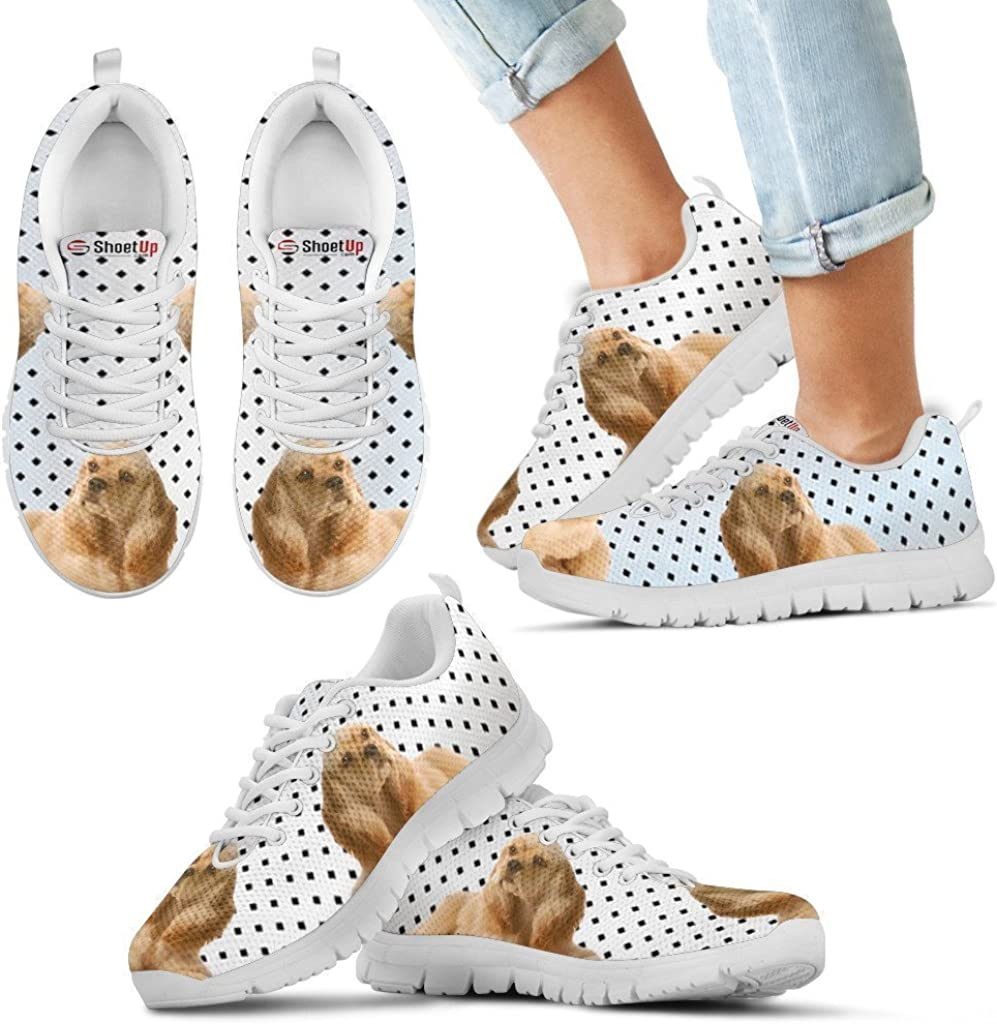 Pet Animal Designs Cocker Spaniel Black Dots Print Running Shoes for Kids