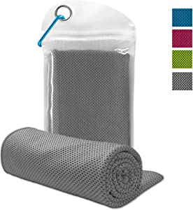 WJZXTEK Cooling Towel for Instant Cooling Relief, Chilling Neck Wrap,Ice Cool Snap Towel, Microfiber Bandana Chilly Towel for Golf Travel Sports Workout Fitness Gym Yoga Pilates Camping (Gray)