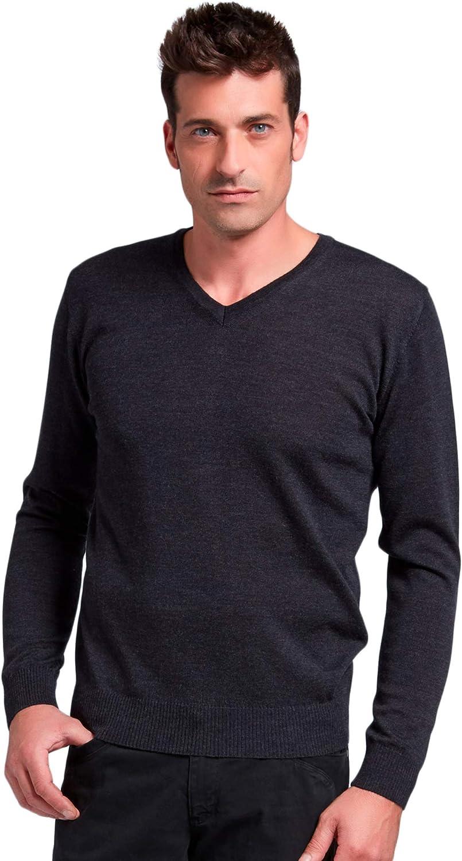 BRUNELLA GORI Suéter Jersey para Hombre con Cuello en V 100 ...