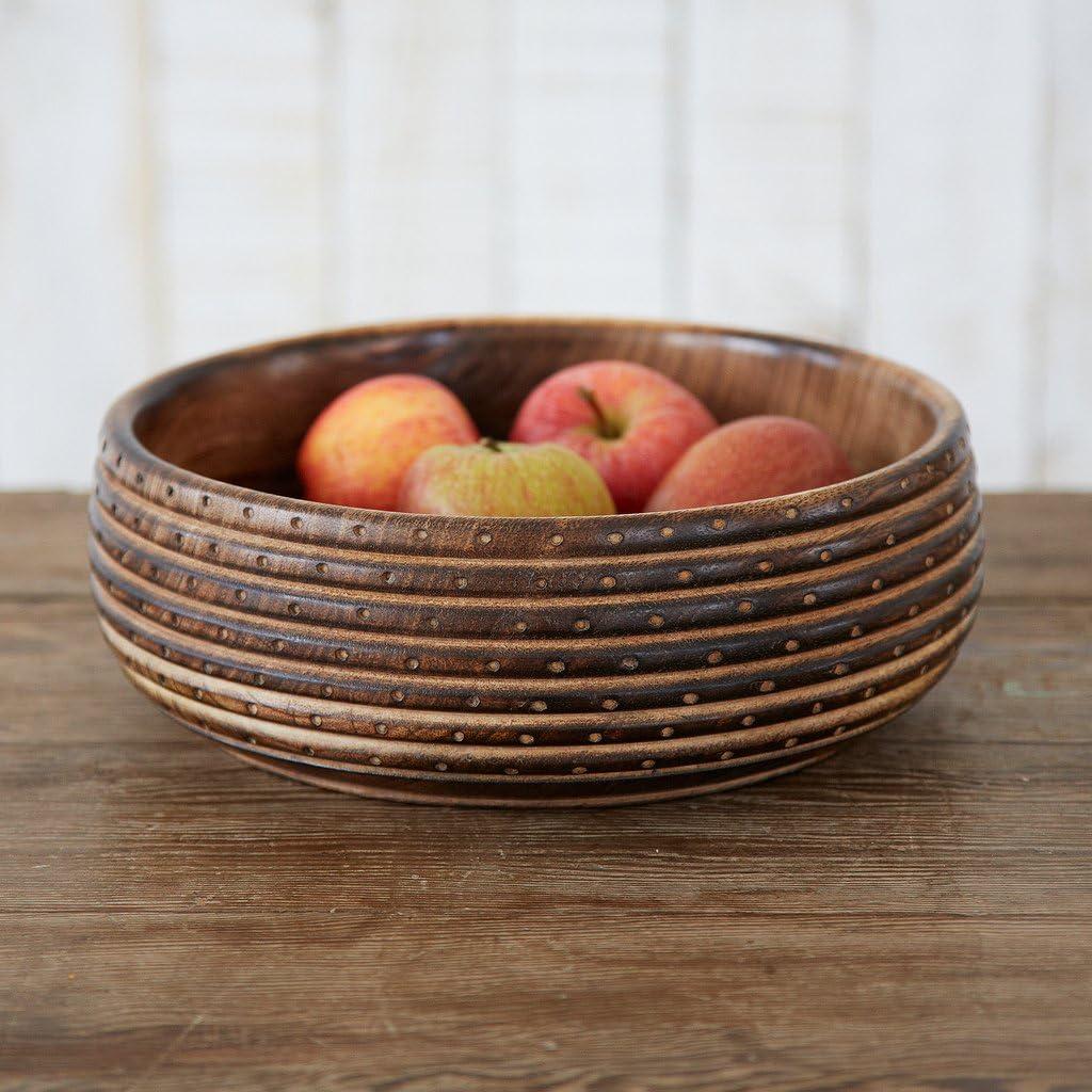 Cuenco de madera tallada Natural 240/mm de di/ámetro, 85/mm Altura