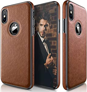LOHASIC iPhone XS Case, iPhone X Case Slim Thin Premium Leather Luxury PU Soft Flexible Hybrid Bumper Anti-Slip Grip Scratch Resistant Protective Cover for Apple iPhone X XS New Version (2018) - Brown