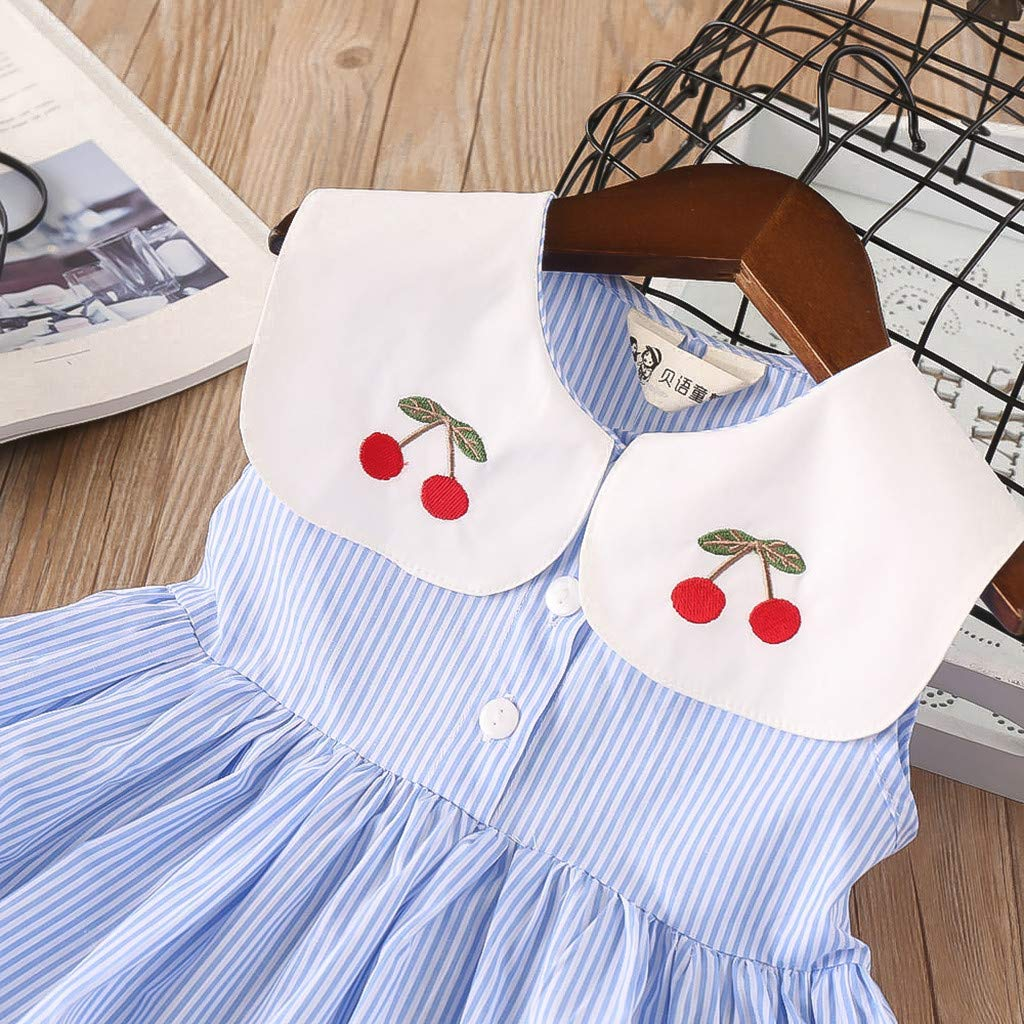 Shi Tou/_Children Toddler Kids Baby Girls Clothes Sleeveless Cherry Stripe Party Princess Dresses