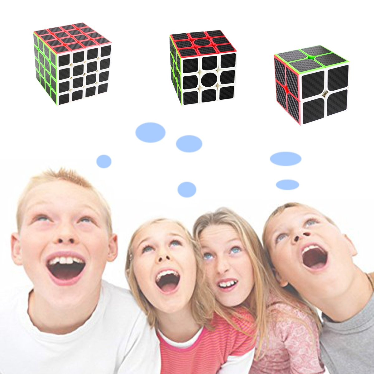 Speed Cube Fibra Carbono Cubo Velocidad Puzzle Cubos Juegos Inteligencia COOJA Cube Pack 2x2 3x3 4x4