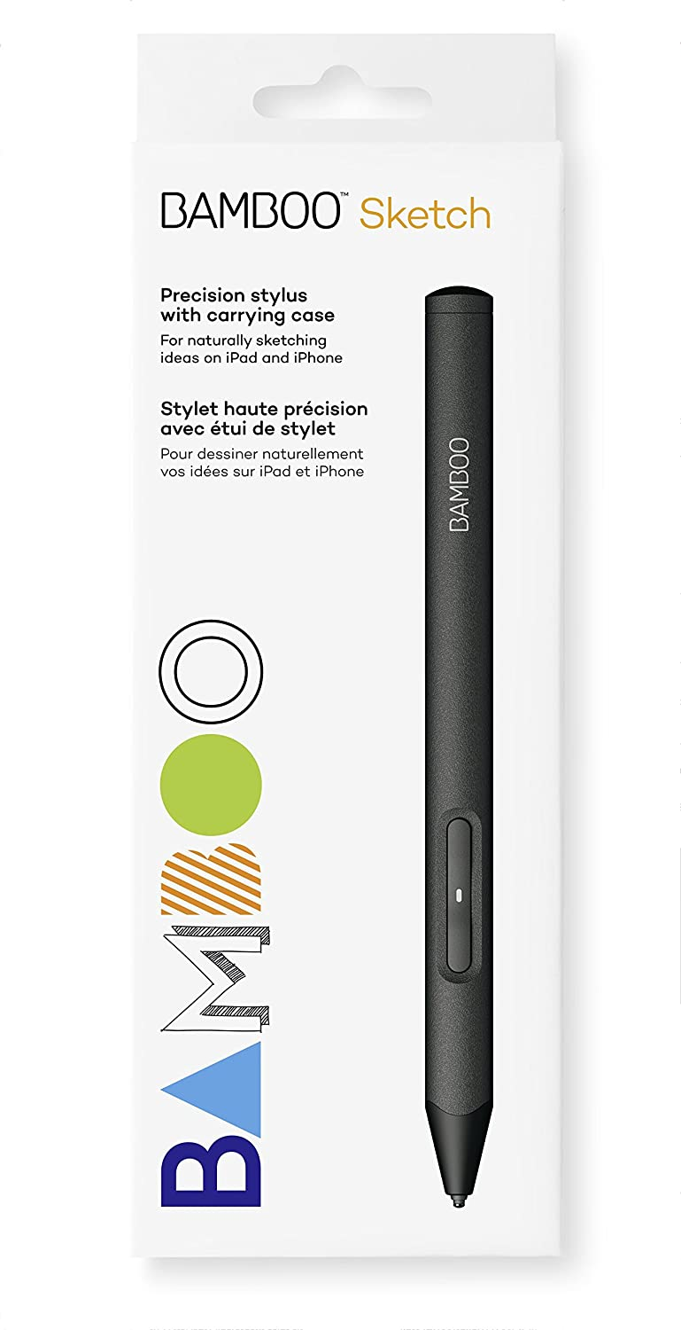 Wacom CS610PK Bamboo Sketch (Fine Tip Stylus by, Natural Sketching on iPad and iPhone), Black