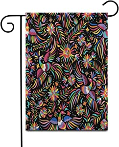 """Awowee 28""""x40"""" Garden Flag Pattern Mexican Colorful and Ornate Ethnic Birds Flowers Dark Folklore Outdoor Home Decor Double Sided Yard Flags Banner for Patio Lawn"""