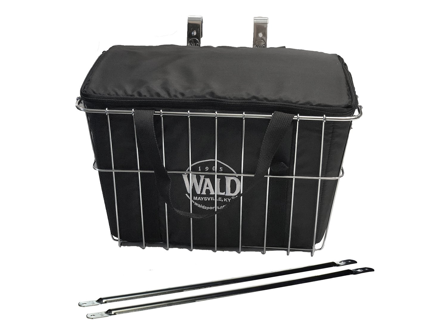 Wald Deep Sized Grocery Front Handlebar Bike Bicycle Basket with Insulated Grocery Basket Bag