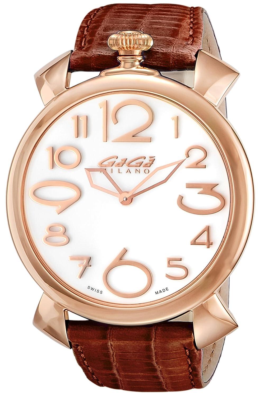[ガガミラノ]GaGaMILAN 腕時計 MANUALE THIN46mm ホワイト文字盤 5091.06-BRW メンズ 【並行輸入品】 B077G5SF8K