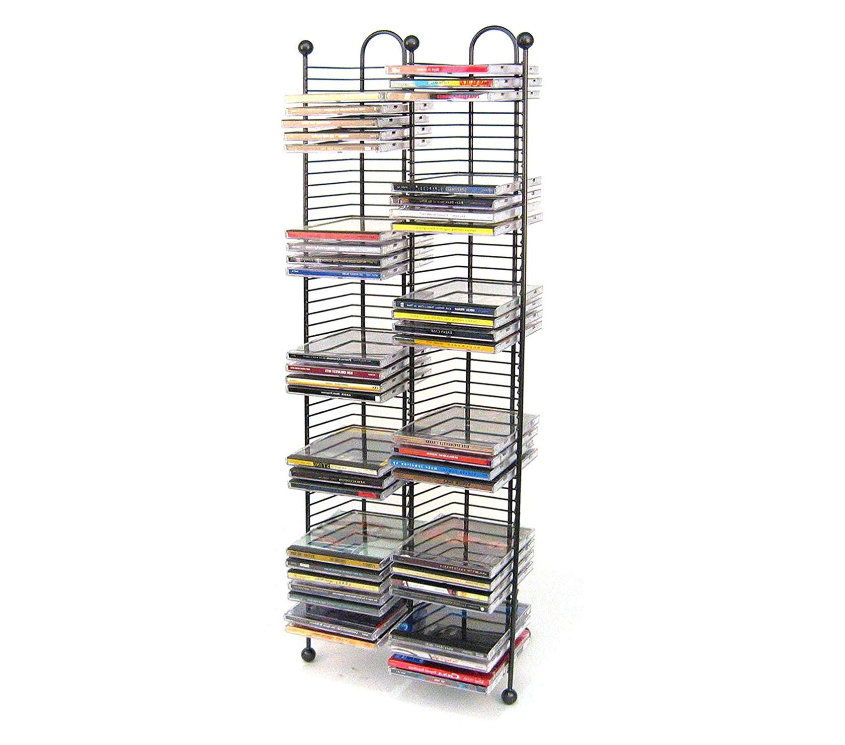 Office Home Furniture Premium 100 CD Tower - Holds 100 CDs, Efficient Space-Saving Design, Heavy Gauge Steel Construction, Gunmetal Finish with Cherry Wood Accents
