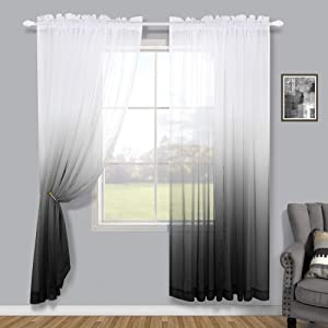 Black Curtains 72 inch Length for French Door Sets of 2 Panel Fashion Minimalist Ombre Window Drape Patterned Silver Black Sheer Shower Curtains for Living Room Decor Teen Girls Decoration 52x72 Long
