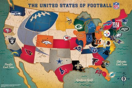Nfl Us Map.Amazon Com Ppw Toys Nfl Usa Large Puzzle Standard Jigsaw Puzzles
