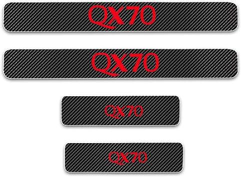 for Infiniti QX80 Door Sill Protector Reflective 4D Carbon Fiber Sticker Door Entry Guard Door Sill Scuff Plate Stickers Auto Accessories 4Pcs Red