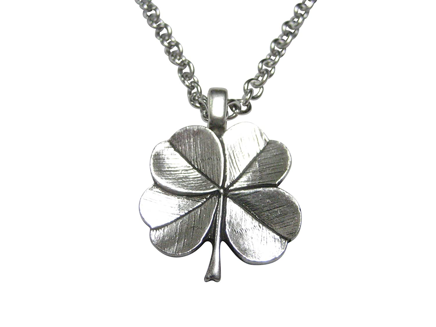 Kiola Designs Silver Toned Textured Lucky Four Leaf Clover Pendant Necklace
