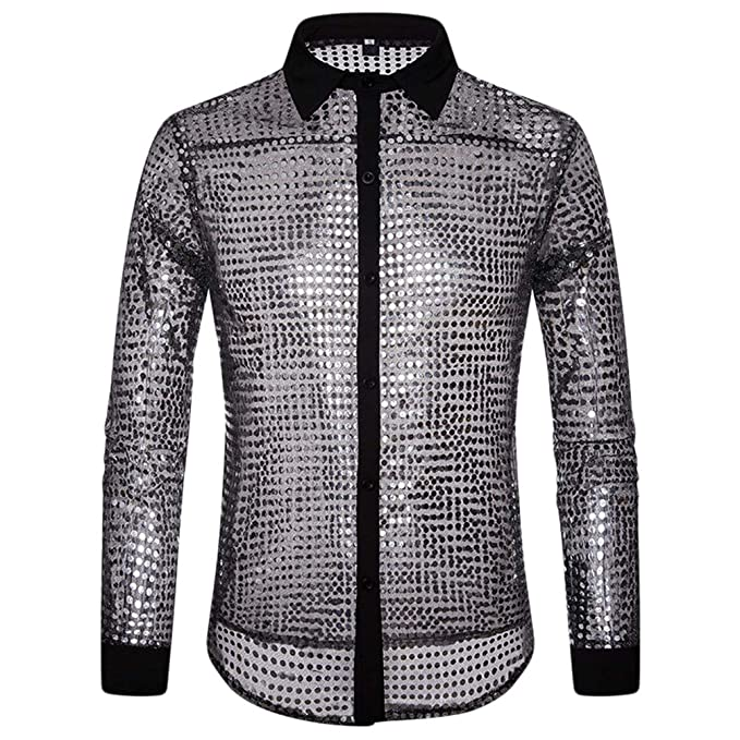 sports shoes 82ed2 b9d81 WanYangg Camicia Uomo Slim Fit Lucida Puntino Paillettes ...