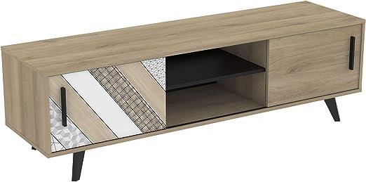 Mueble TV Comedor 2 Puertas correderas Estilo Industrial Color Roble Salon Mesa Banco Television 151X45X42 cm: Amazon.es: Hogar