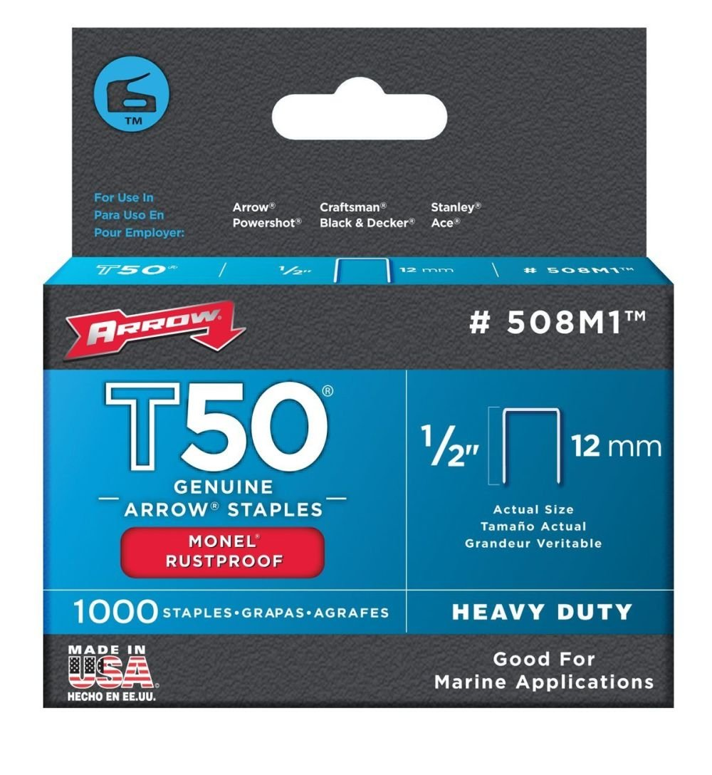 Arrow Fastener 508M1 1/2'' T50 Monel Staples