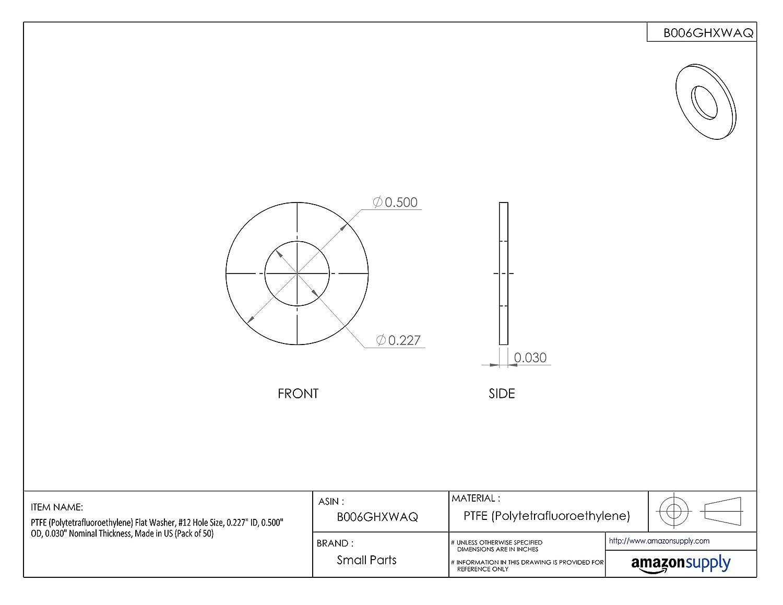 Pack of 50 0.500 OD #12 Hole Size Made in US 0.030 Nominal Thickness 0.227 ID Flat Washer PTFE Polytetrafluoroethylene