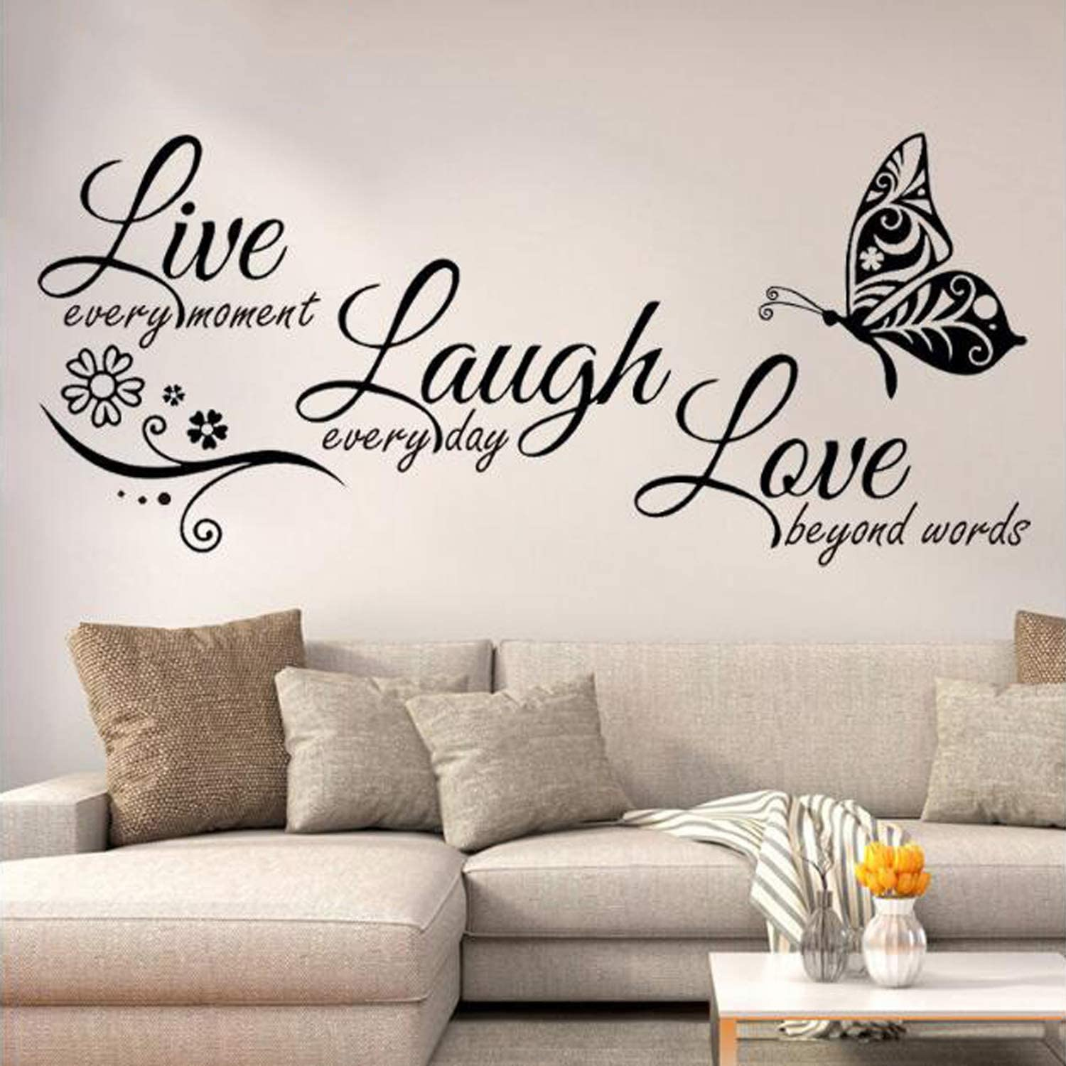 Amazon Com Yinasi Inspirational Quotes Wall Decal Removable Vinyl Art Decoration For Home Living Room Bedroom Nursery Room Classroom Wall Decor Live Every Moment Laugh Every Day Love Beyond Words Kitchen Dining