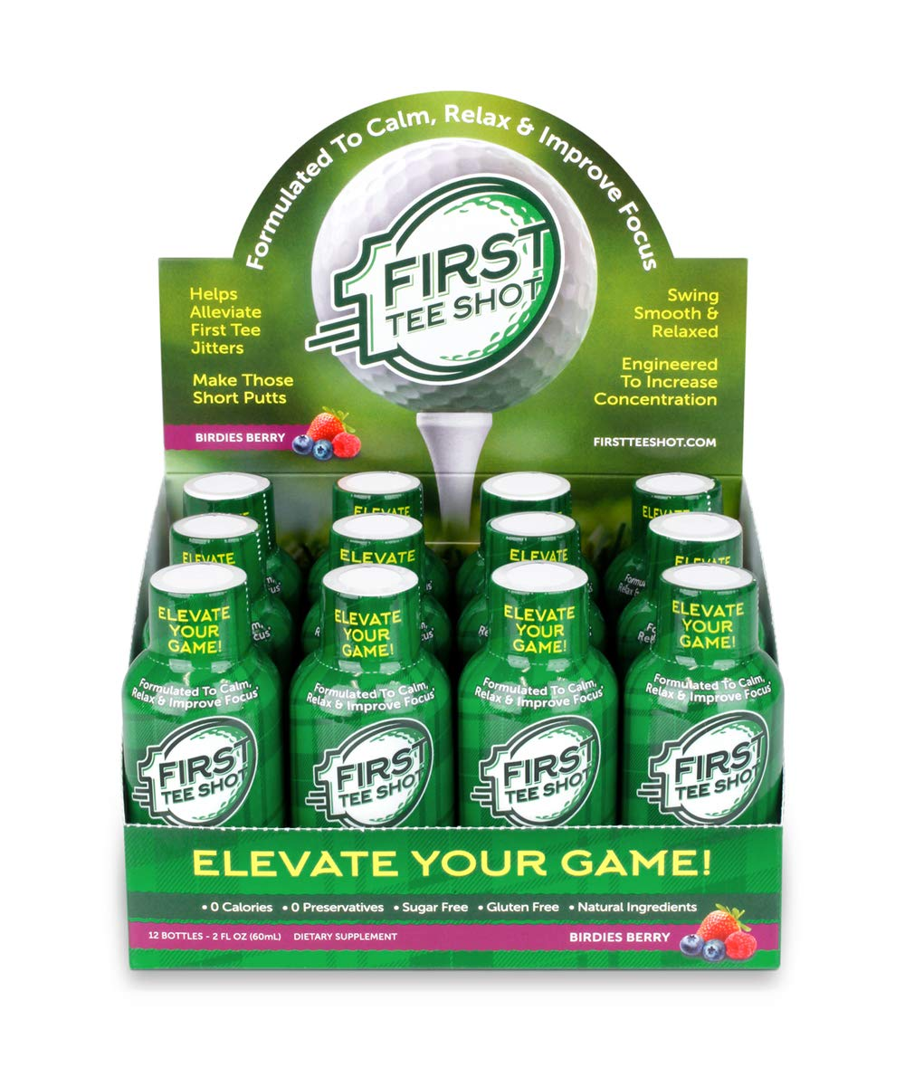 First Tee Shot, The Golfers Supplement Drink - Helps Alleviate First Tee Jitters, Increase Focus and Concentration, Swing Smooth and Relaxed, Make Those Short Putts, Birdies Berry Flavor