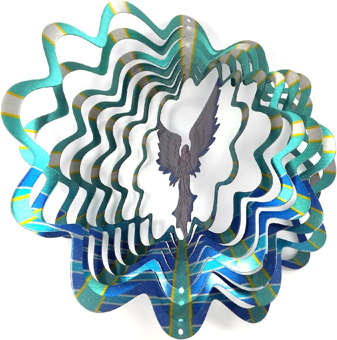 WorldaWhirl Whirligig 3D Wind Spinner Hand Painted Stainless Steel Twister Angel (6.5 Inch, Multi Color)