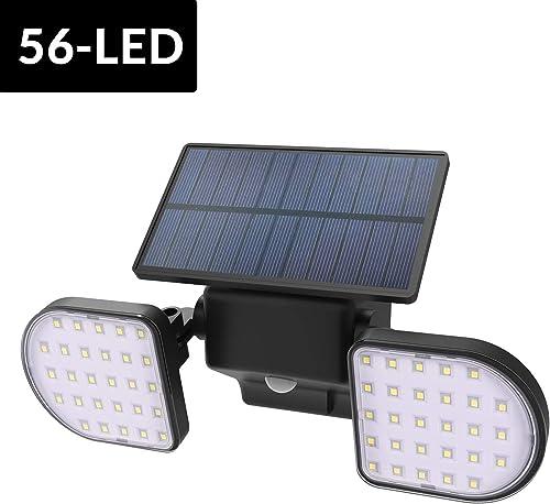 Neetto L601 56 LED Outdoor Solar Motion Sensor Security Lights, Wireless IP65 Water Rasistant Night Lights, Double Headed Adjustable, Spotlight, Security for Garage Garden Driveway Front Door Wall