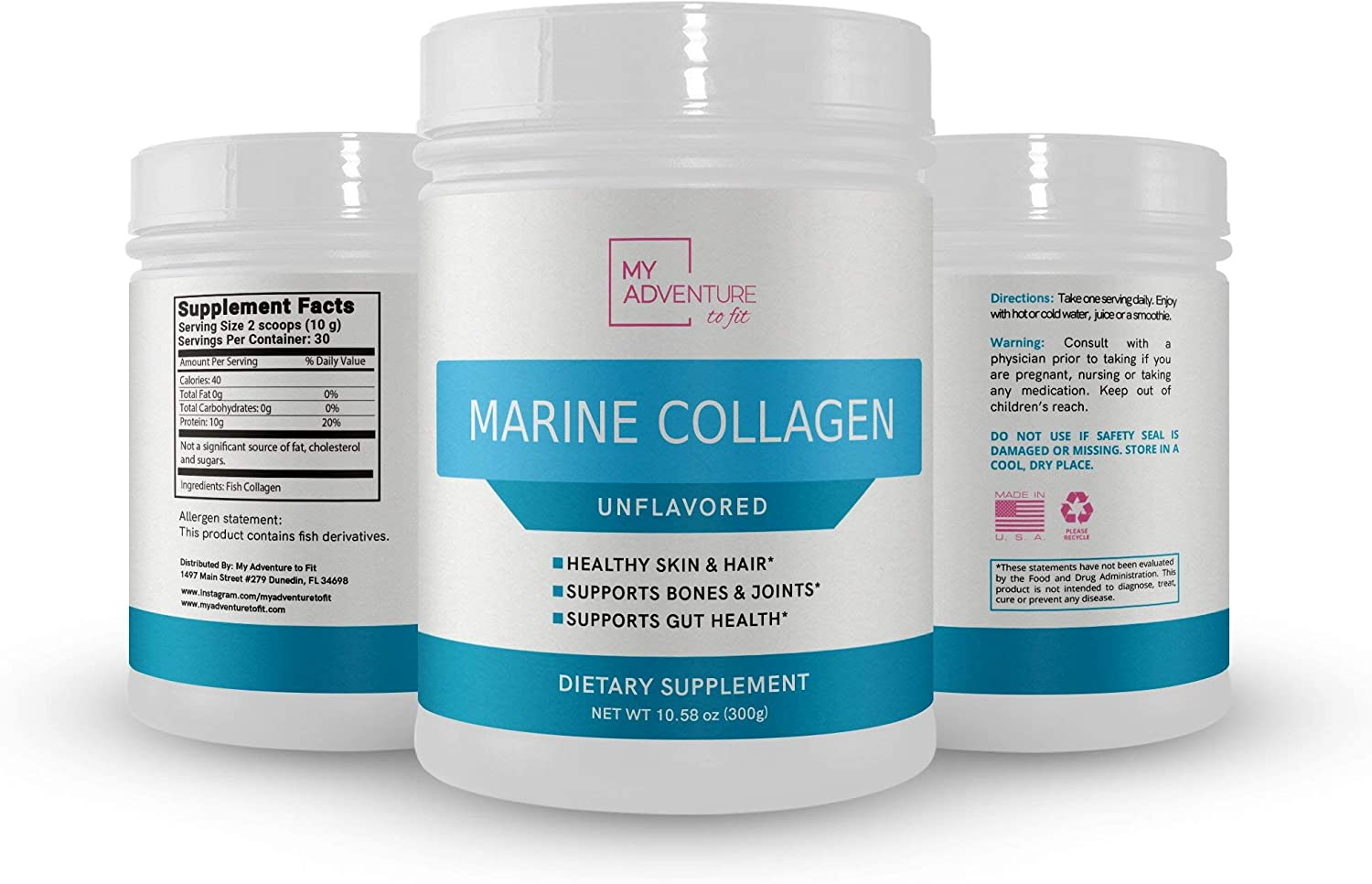 Pure Marine Collagen Peptides – Powder Supplement for Hair, Skin and Nails - Unflavored and Dissolves Easily - Joints and Gut Health - for Men and Women (Unflavored, 30 Servings)