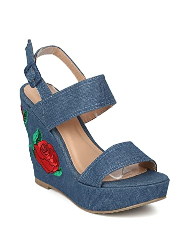 34e75fa60a9 Alrisco Women Open Toe Embroidered Platform Wedge Sandal HI40 - Blue Denim  (Size  6.0