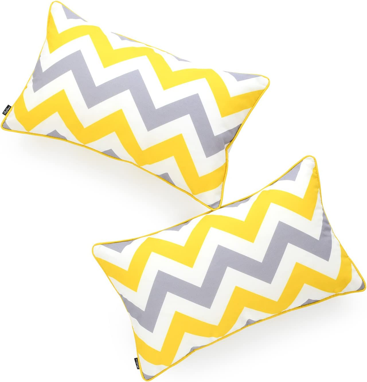 "Hofdeco Indoor Outdoor Lumbar Pillow Cover ONLY, Water Resistant for Patio Lounge Sofa, Yellow Gray Zigzag Chevron, 12""x20"", Set of 2"