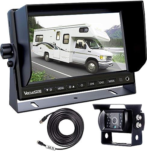 Backup Camera for Trucks, Two Installation Methods, No Interference, No Delay, 7 Wide Screen and Night Vision IP68 Waterproof Backup Camera for Box Truck, Bus, Caravan, Camper Van, Boat, Yacht