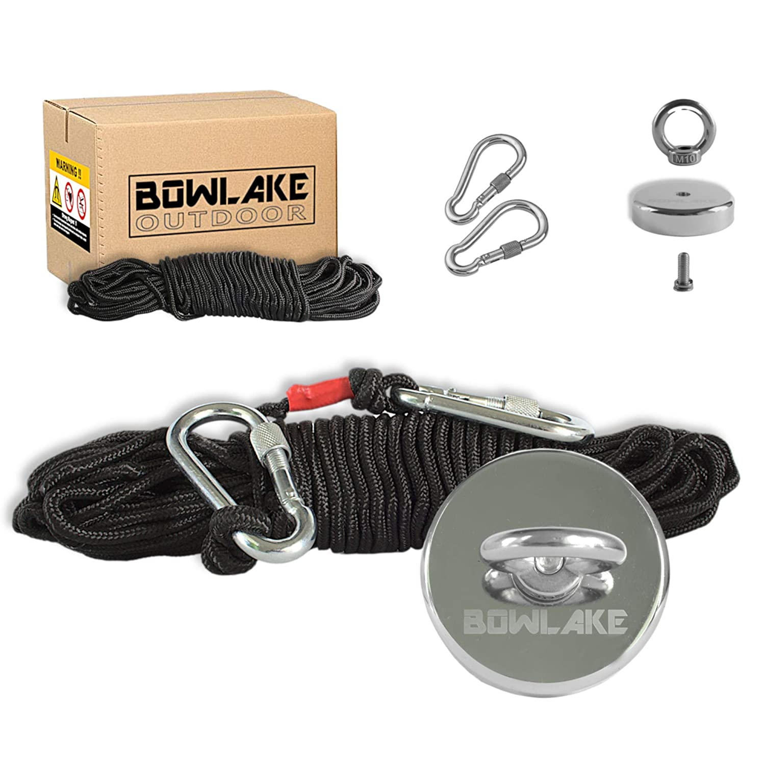 Underwater Metal Detector Neodymium Rare Earth N52 Fishing Magnet with 65ft Rope and 2 Carabiner Clips Bowlake Industrial Permanent Fishing Magnet Kit with Over 550Lbs 250KG Pulling Force 20m
