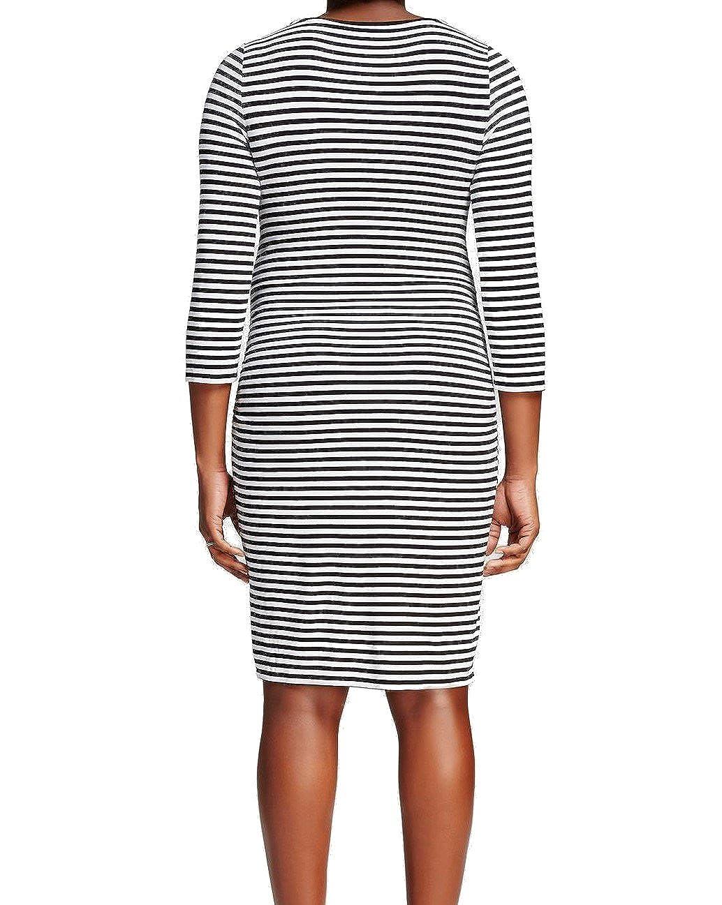 bd01fa46693bd Liz Lange Maternity 3/4 Sleeve T Shirt Dress, Navy/Cream Medium at Amazon  Women's Clothing store: