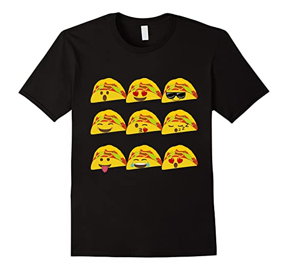 Mens Tacos Con Emoticons Camiseta - Emoticon Tacos T-Shirt 2XL Black