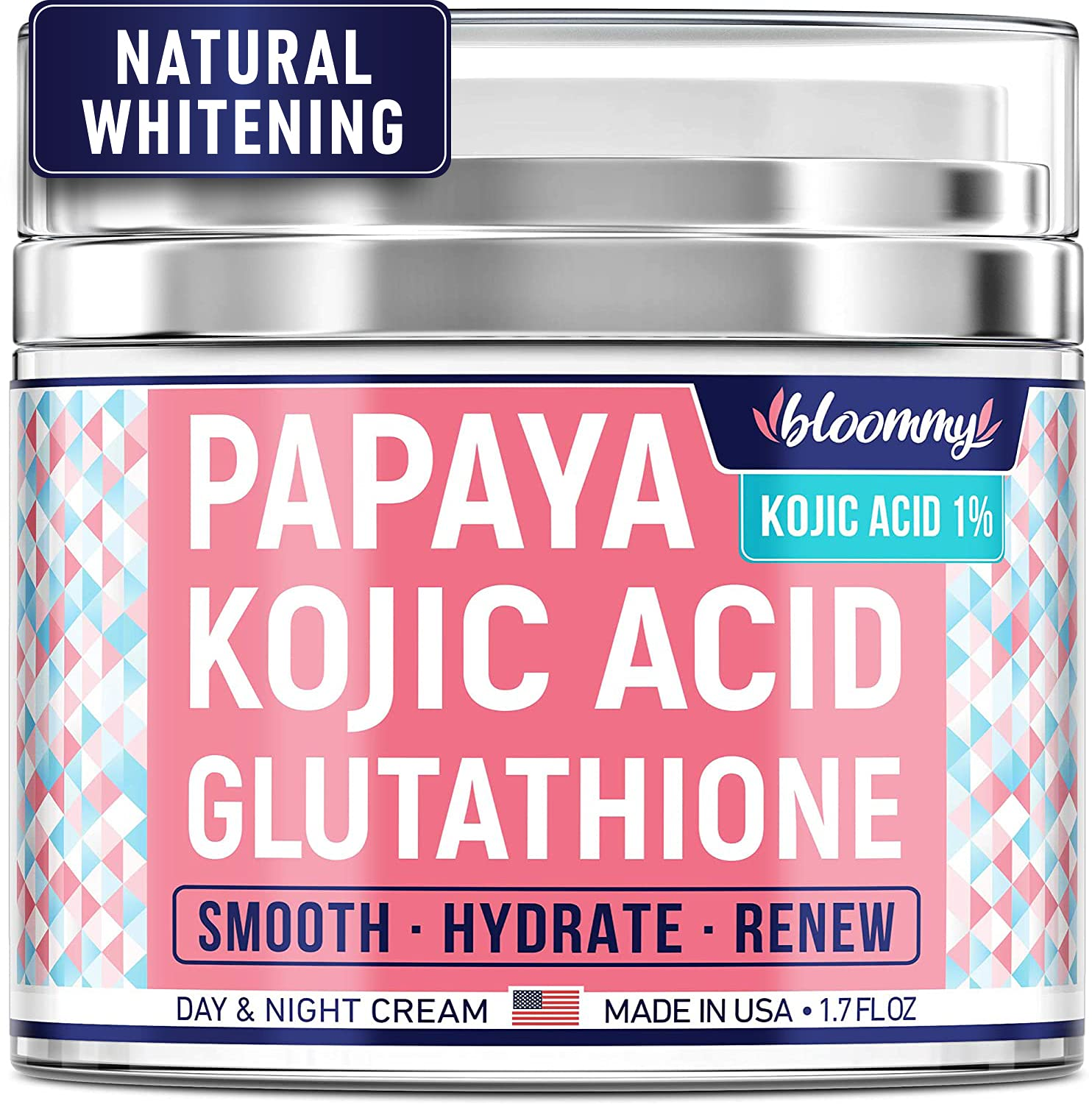 Bloommy Skin Nourishing & Resurfacing Cream for Face & Body - Made in USA - Dark Spot Correction - Complexion Renewal with Glutathione, Papaya & Kojic - Moisturizes, Smooths, Refreshes - 1.7 oz