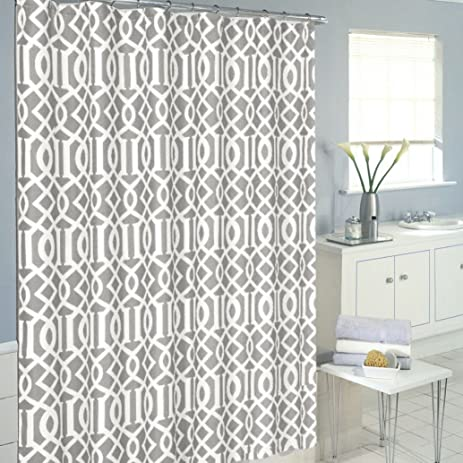 LHT Luxurious Moroccan Trellis Shower Curtain Set With 12 Hooks Grey